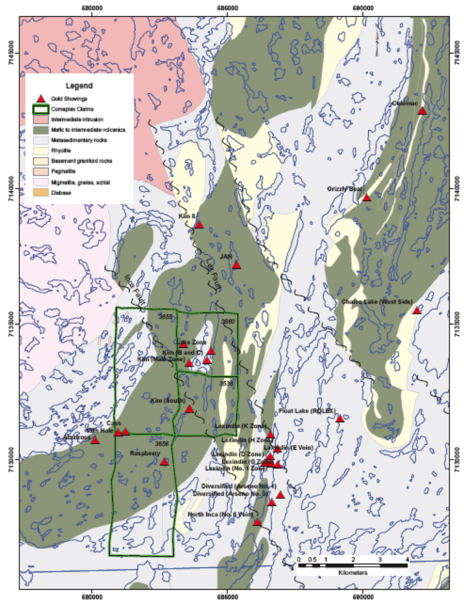 Figure 2 - Showings and Geology Map of Leases Optioned from Geomark